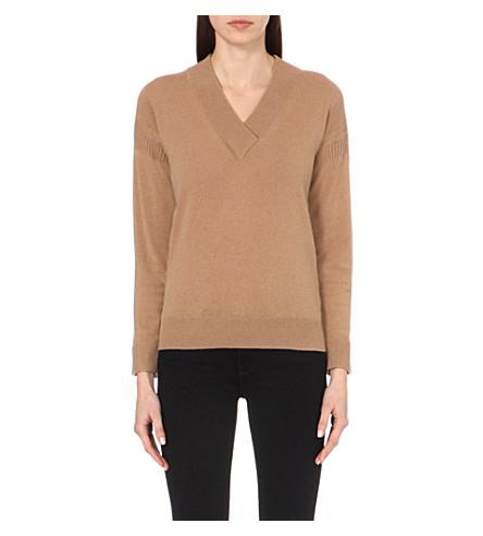 BURBERRY V-neck cashmere sweater (Camel