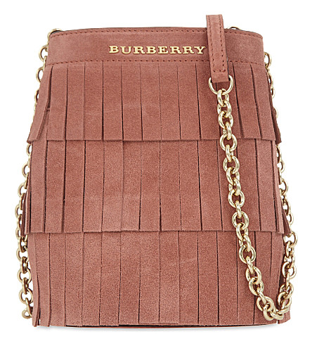 BURBERRY Fringe mini suede bucket bag (Russet