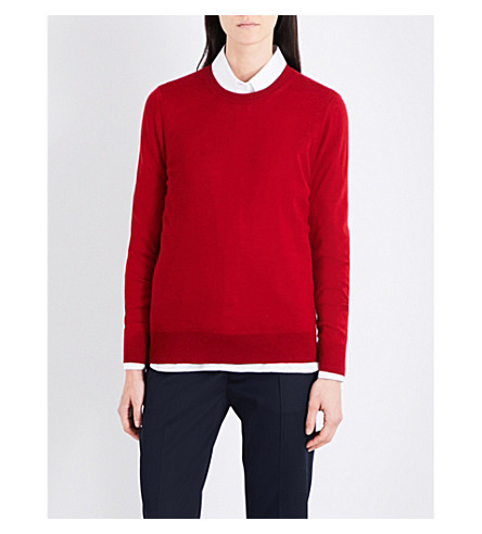 BURBERRY Elbow-patch wool jumper (Parade+red