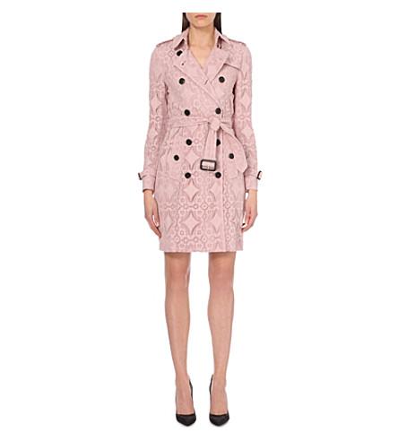 BURBERRY Kensington lace cotton-gabardine trench coat (Thistle pink