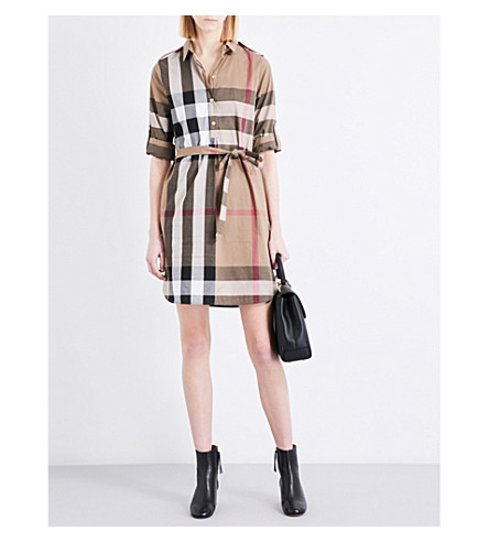 BURBERRY Kelsy cotton-poplin dress (Taupe+brown
