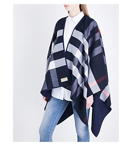BURBERRY Merino wool cape (Navy