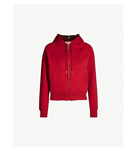 BURBERRY Zip-up cotton-blend hoody (Parade+red