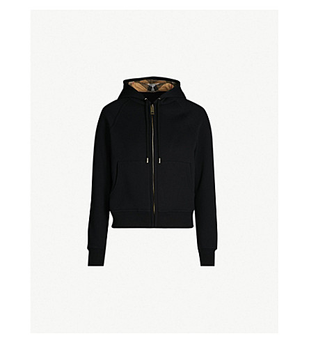 BURBERRY Zip-up cotton-blend hoody (Black
