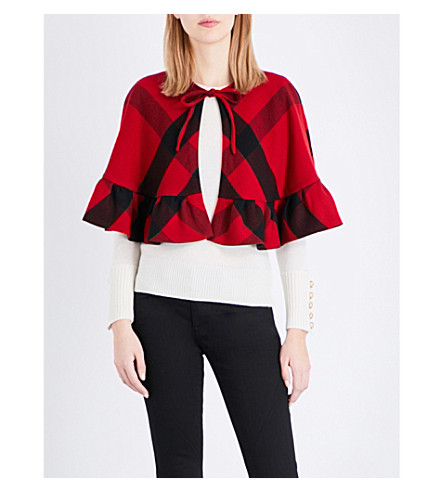 BURBERRY Corfton cropped wool cape (Parade+red