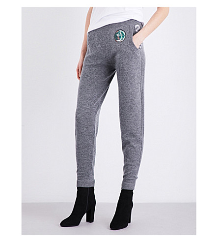 BURBERRY Rivertaro high-rise wool and cashmere-blend jogging bottoms (Mid+grey+melange