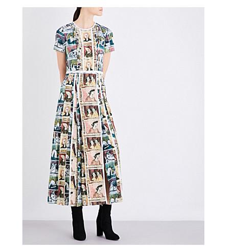 BURBERRY Framed Heads silk dress (Umber+brown