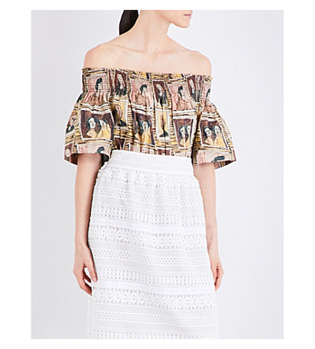 BURBERRY Faces-print off-the-shoulder cotton top (Umber+brown