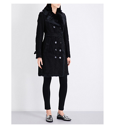 BURBERRY Toddingwall shearling trench coat (Black