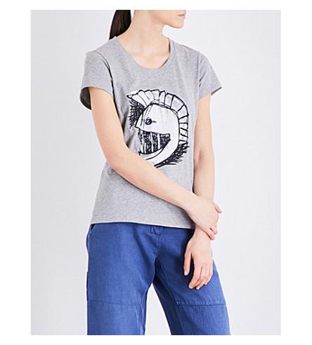 BURBERRY Pallas Head cotton-jersey T-shirt (Pale+grey+melange