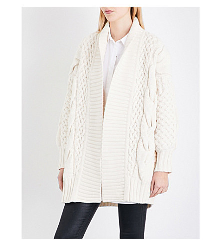 BURBERRY Camrosebrooke cable-knit wool and cashmere-blend cardigan (Natural+white