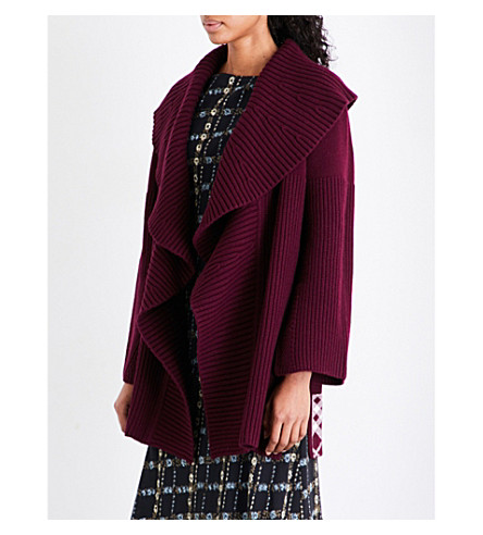 BURBERRY Fenni wool and cashmere-blend cardigan (Burgundy