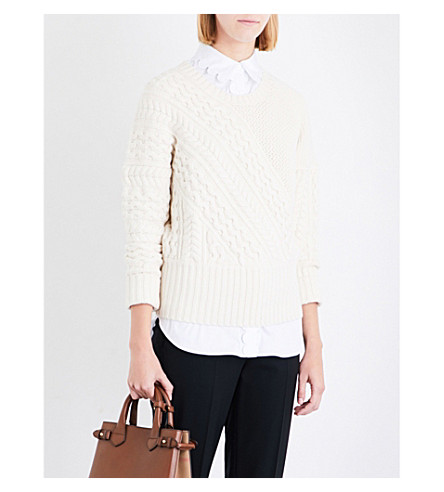 BURBERRY Ribbed wool and cashmere-blend jumper (Natural+white