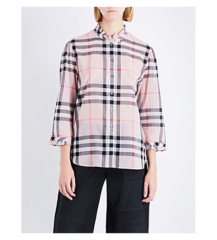BURBERRY Salla check-print ruffled cotton shirt (Vinatge+pink