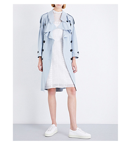 BURBERRY Baythrope woven-silk trench coat (Pale+slate+blue