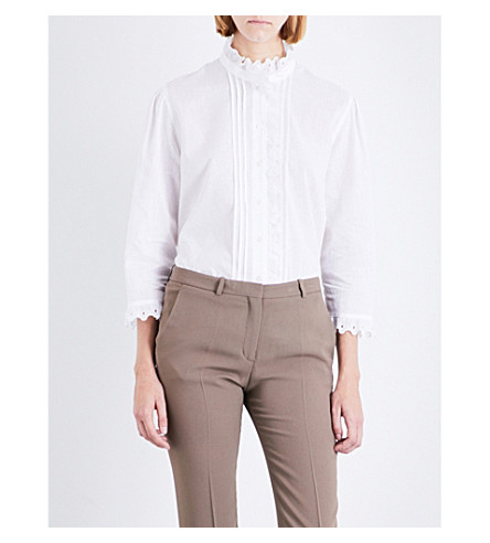 BURBERRY Begonia ruffled linen and cotton-blend shirt (White