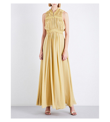 BURBERRY Aelia silk-georgette maxi dress (Cornflower+yellow