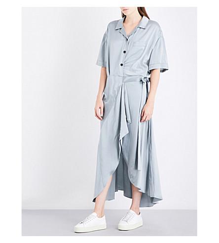 BURBERRY Emily tie-waist silk-satin shirt dress (Mineral+blue