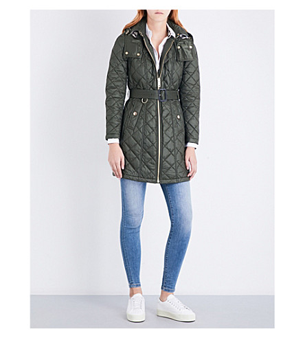 BURBERRY Baughton diamond-quilted shell parka coat (Military+khaki