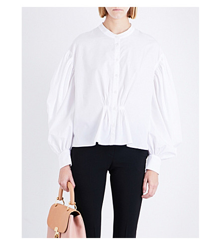 BURBERRY Lilium cotton-poplin shirt (White