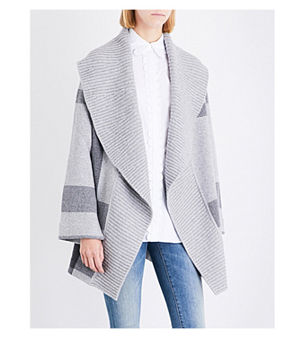 BURBERRY Checked wool-blend cape (Grey+melange