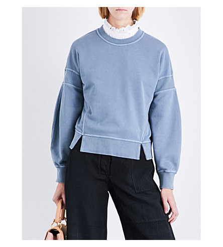 BURBERRY Minho cotton-jersey sweatshirt (Dusty+blue