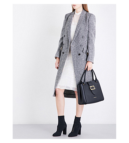 BURBERRY Trentwood Donegal herringbone wool-tweed coat (Black