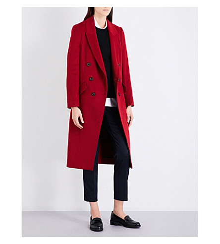 BURBERRY Trentwood wool and cashmere-blend coat (Milatery+red