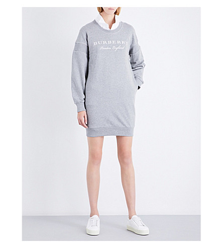 BURBERRY Soure embroidered cotton-jersey sweatshirt dress (Pale+grey+melange