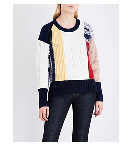 BURBERRY 对比板厚针织羊毛和羊绒混纺毛衣 (骆驼