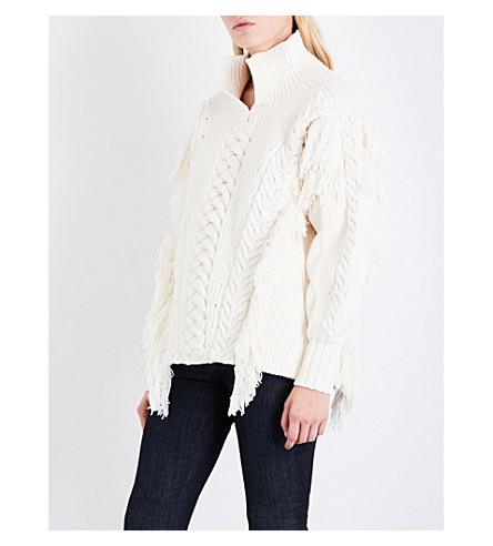 BURBERRY Stand-collar fringed cable-knit cotton-blend jumper (Natural+white