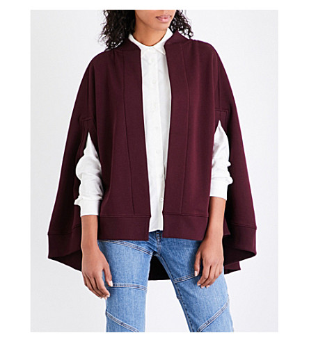 BURBERRY Vizela embroidered jersey cape (Deep+claret