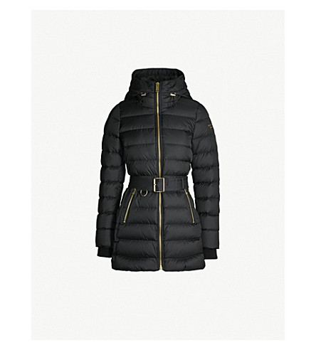 BURBERRY Linefield quilted down and feather-blend puffer coat (Black