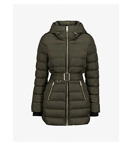BURBERRY Linefield quilted down and feather-blend puffer coat (Dark+olive