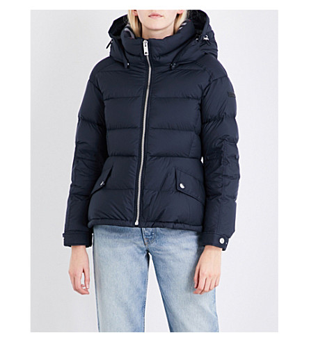BURBERRY Fleetwood quilted down and feather-blend puffer jacket (Navy