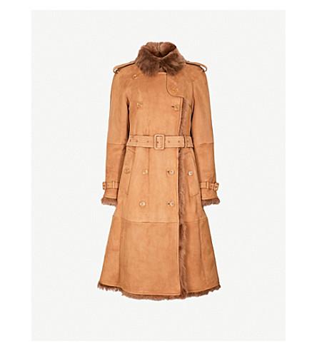BURBERRY Tolladne shearling coat (Dark+camel