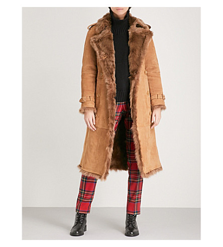 BURBERRY Tolladne shearling coat (Dark+camel