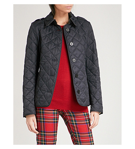 BURBERRY Frankby checked-detail quilted shell jacket (Navy