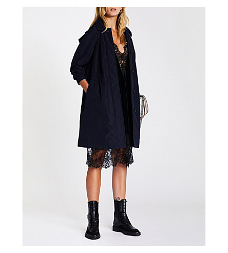 Tringford hooded shell trench coat