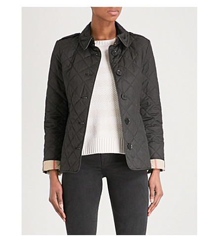 BURBERRY Frankby checked-detail quilted shell jacket (Black