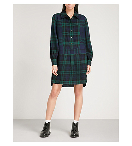 BURBERRY Kylie brushed-wool shirt dress (Navy