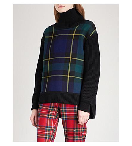 BURBERRY Fiora turtleneck wool and cashmere-blend jumper (Black+navy