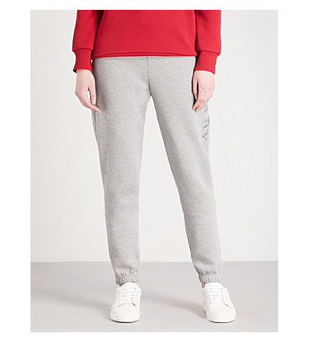 BURBERRY Francoli tapered mid-rise jersey jogging bottoms (Pale+grey+melange