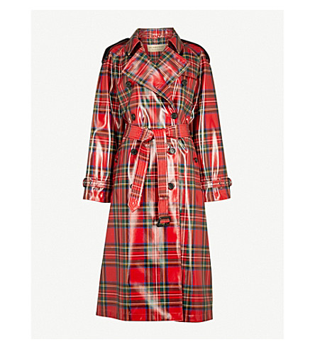 BURBERRY Eastheath patent-wool trench coat (Bright+red