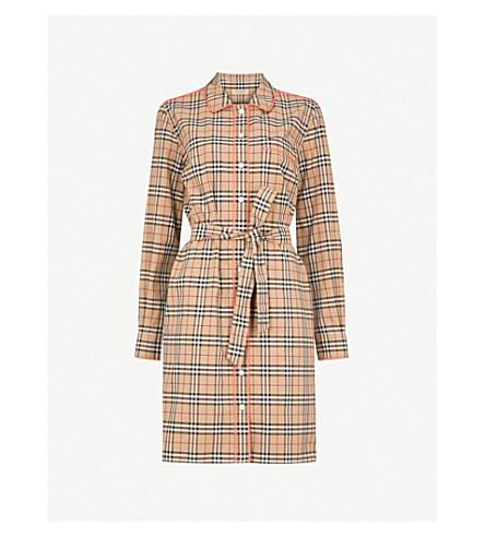 BURBERRY Brooke cotton shirt dress (Camel+pink+trim