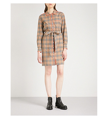 BURBERRY Brooke cotton shirt dress (Camel+pink+trim