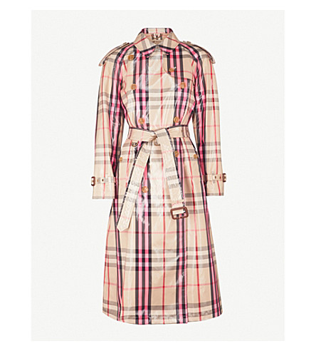 BURBERRY Eastheath checked patent cotton-blend trench coat (Neon+pink