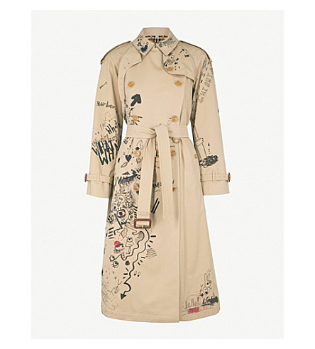 BURBERRY Eastheath doodle-print cotton trench coat (Honey