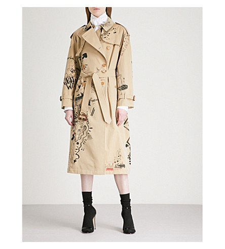 BURBERRY Eastheath doodle-print cotton trench coat (Honey