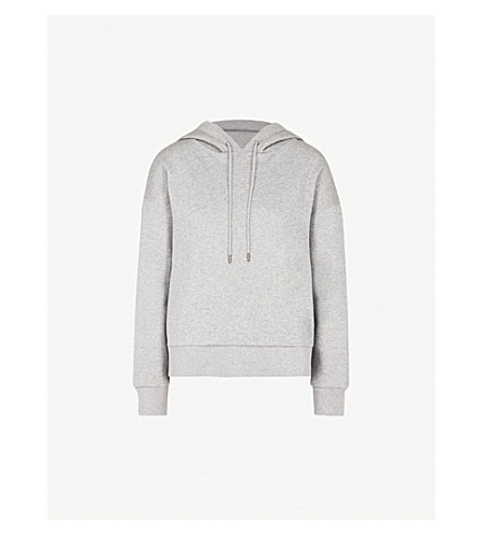BURBERRY Escara cotton-blend jersey hoody (Pale+grey+melange